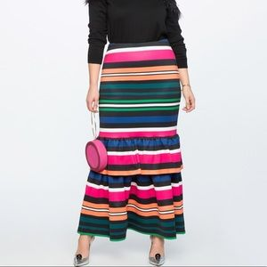 Eloquii Striped Trumpet Maxi Skirt with Ruffle